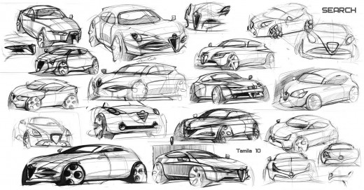 Alfa Romeo MiTo sketches research by Tamila