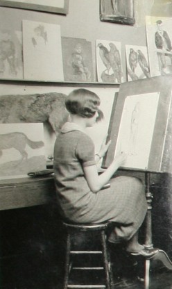 This is a picture of my late grandmother in her art class at university. (circa 1920)