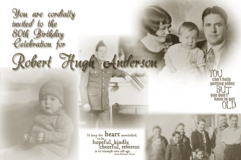 I made this vintage invitation to my father's 80th birthday celebration.