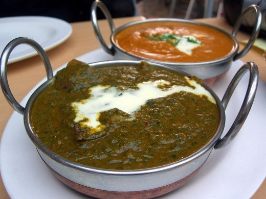 Lamb Saag (foreground) and Chicken Korma (background)