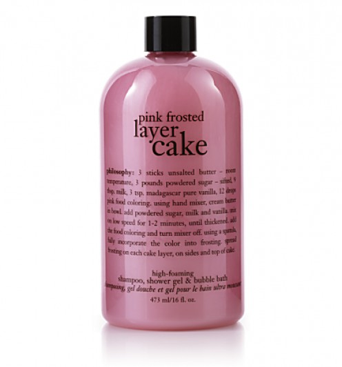 One of Philosophy's best scents, 3-in-1 Pink Frosted Layer Cake has a warm vanilla cake smell with a hint of strawberry.