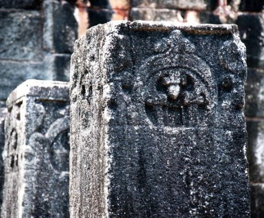 Stone Pillars in Nalanda Gedige
