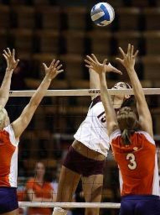"See how this spiker is in the hammer position ready to go ""elbow to wrist"" hammering the ball?"