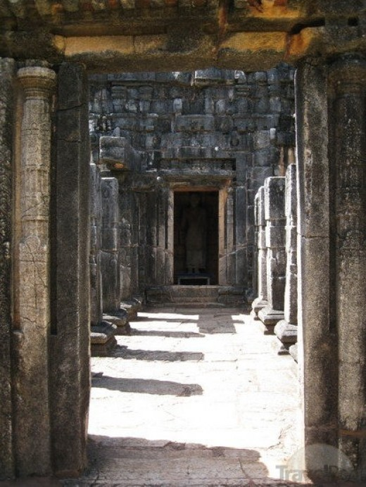 Stone Pillars inside the Nalanda Gedige