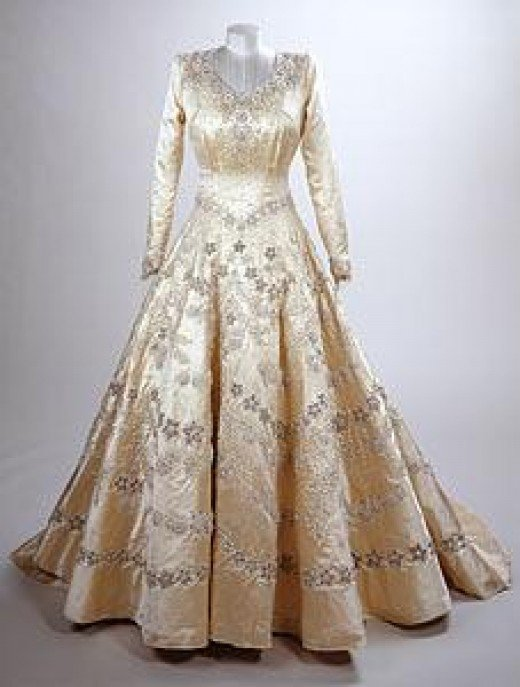 The dress of Princess Elizabeth, now Queen Elizabeth II