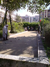 Men in Naples, Italy playing Boce
