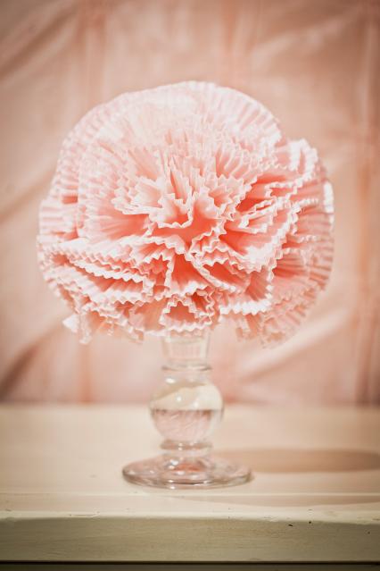 Cupcake liner pom pom flower - photo by Kara's Party Ideas