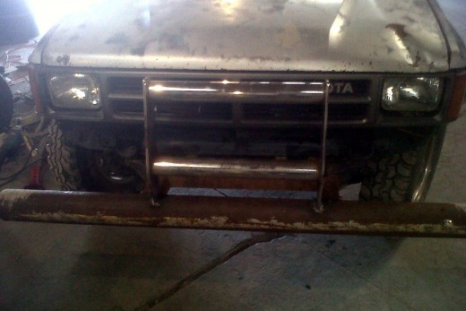 At work we did a quick weld job to make an ugly, yet functional, bull bar on one of our customer's hunting truck.