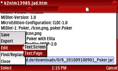 16) SELECT Menu-Edit-Text Page