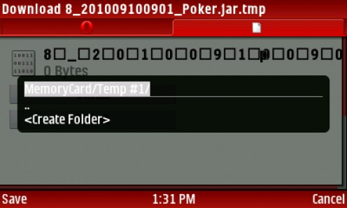 22) SELECT And SAVE the jar  file to MemoryCard-APPS as your destination folder