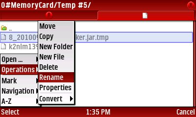 24) Navigate to the jar file you just saved and SELECT Menu-Operations-Rename and rename the jar file to Poker.jar