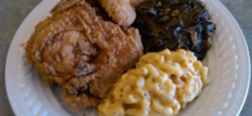 Chicken, macaroni & cheese, collard green