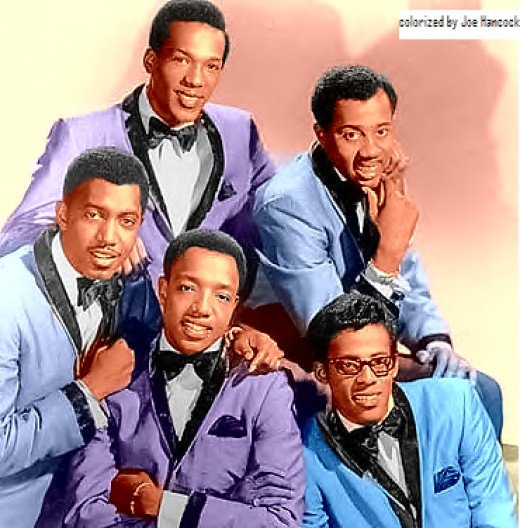 Image from wikipedia...Otis Williams (bottom left), Eddie Kendricks (top left), Melvin Franklin (top right), David Ruffin (bottom right), and Paul Williams (center) circa 1965.