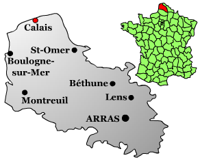 Map location of Calais, France
