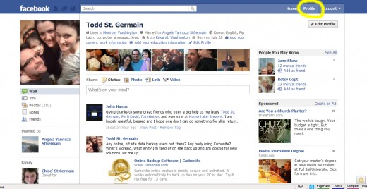 Click on the Profile button located in the upper right hand corner of the Facebook page.  (Shown above circled in yellow).