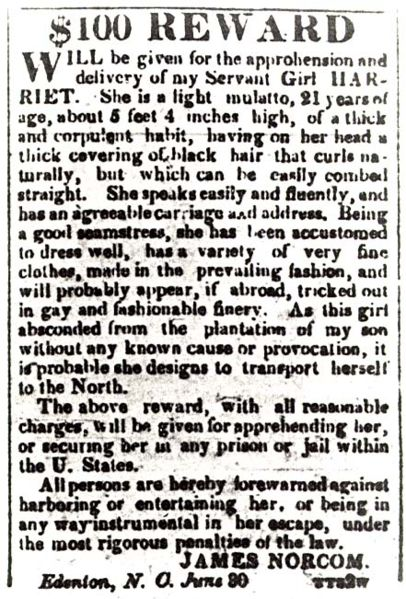 The wanted poster for Harriet Jacobs: $100 for a life (click to enlarge).