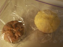 A peanut butter banana oatmeal chocolate chip muffin and a corn muffin both make satisfying snacks.