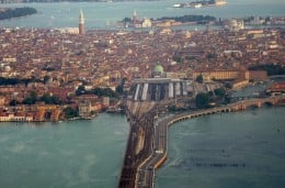 Flying into Venice, you can see the causeway which is the only vehicular access to Venice.