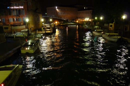 A canal in Venice at night