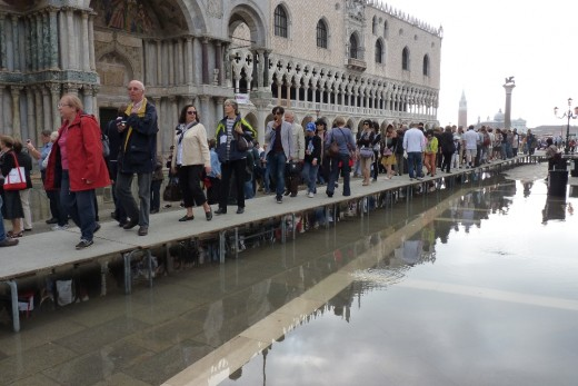 Piazza San Marco with water starting to come up when we were leaving.