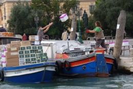Unloading a boat in Venice!