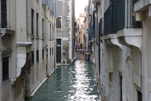Typical narrow canals in Venice