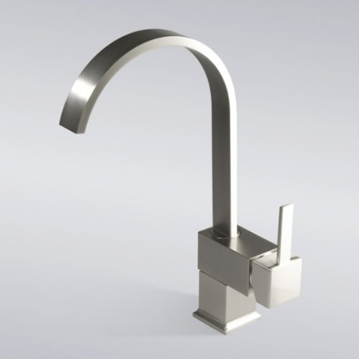 Brushed nickel vessel sink faucet.