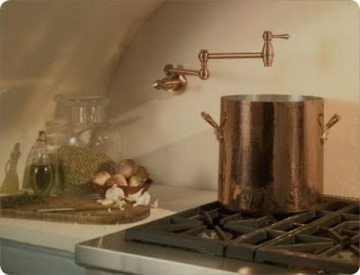Danze opulence antique copper finish pot filler faucet installed