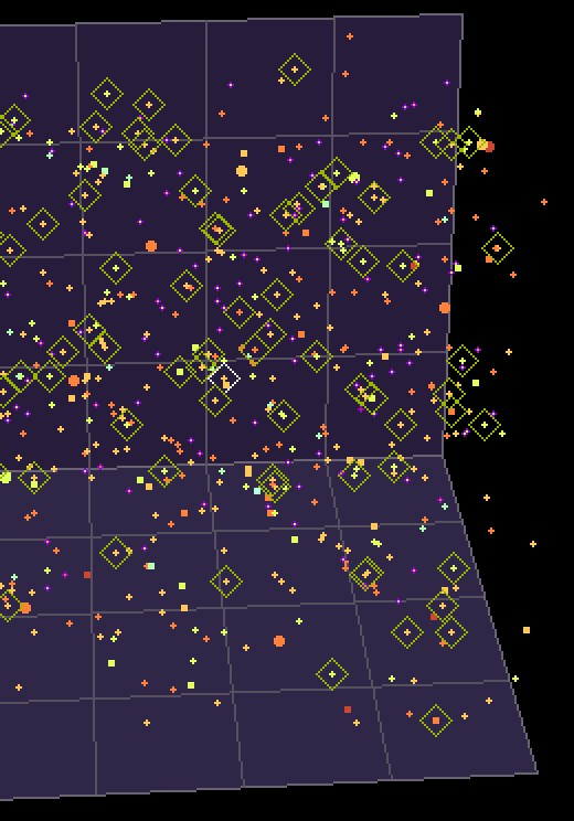 "Close-up view of ""Stars in the NeighborHood"" software, showing stars tagged with olive-green diamonds representing ""Garden Spots of the Galaxy."" These are the ancient-rich suns near our own. Copyright 2011 Carl Martin."