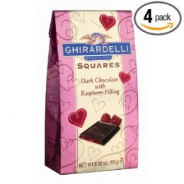 Ghirardelli Valentine's Dark Chocolate with Raspberry Filled Squares, 5.32-Ounce Bags (Pack of 4)