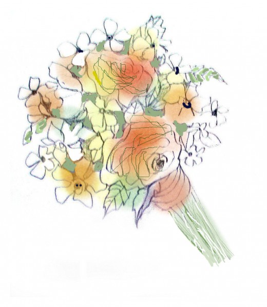 In the planning stages a tussie mussie of roses and white phlox.