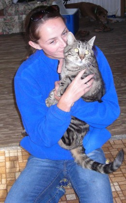 """This is Chrissy holding her wonderful cat """"Marbles"""""""