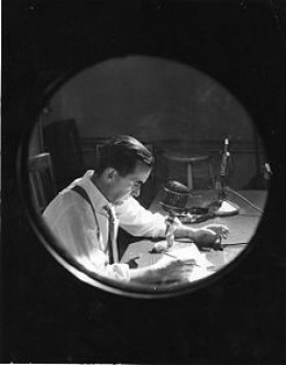 Murrow at work with CBS 1957
