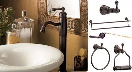 Collection of Oil Rubbed Bronze bathroom accessories with oil rubbed bronze faucet