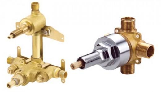 (Right) Danze thermostatic rough-in valve (Left) Danze 4 port diverter rough-in valve