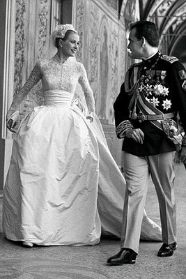 Grace Kelly in 1956 at her Royal wedding in Monaco