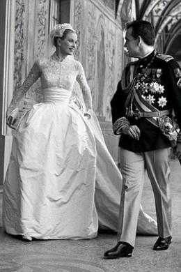 Grace Kelly in 1956 at her Royal wedding in Monaco
