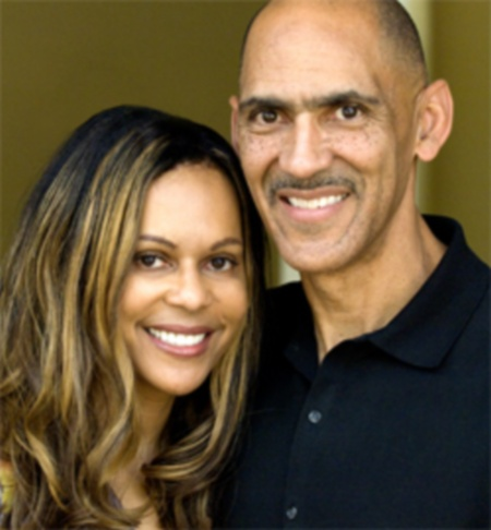 Tony and Lauren Dungy  They were introduced to each other by the Pastor of a church where Tony spoke at a father and son banquet