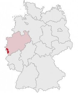 Map location of Aachen, in Germany's Nordrhein-Westfalen