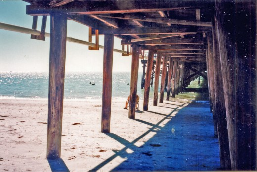 A rip tide can form underneath a pier or dock.