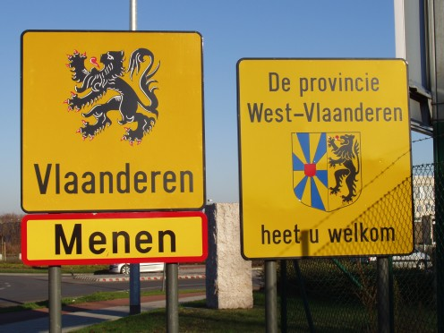 Joined to the French town of Halluin, at Menen Belgium and Flanders suddenly begin