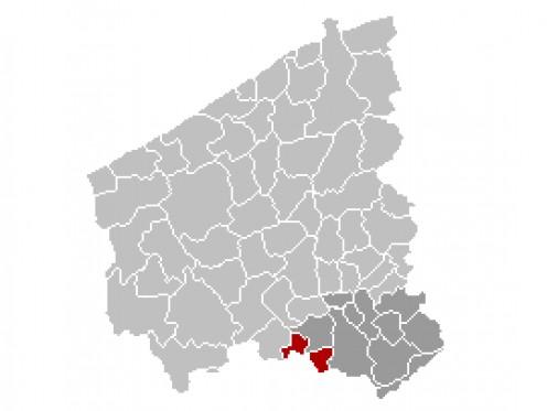 Map location of Menen, Belgium, in West Flanders province