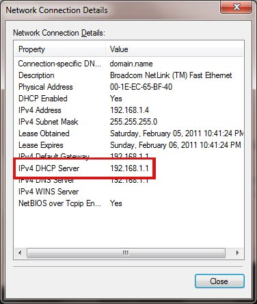 DHCP Server IP Address