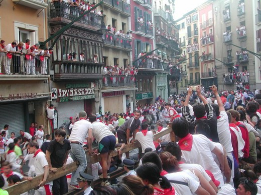 Running of the bulls at San Fermin Festival