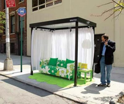 This living room bus stop was created by Ikea as marketing for the Design Week 2006 in New York