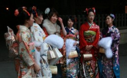 Young ladies dressed in Kimonos at Seijin No Hi Festtival