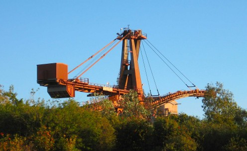 Huge rusty structures dominate the skyline around Port Hedland