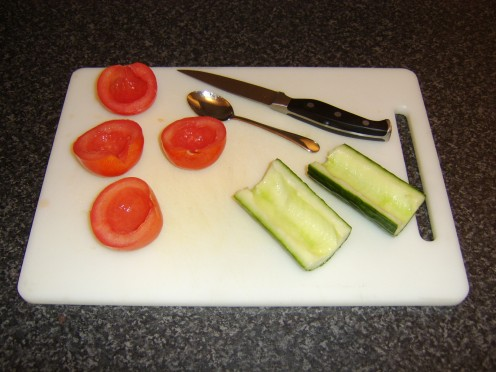 Deseeding the Tomatoes and Cucumber