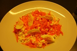 Cottage cheese, egg and grated carrot was actually much more appetising and deliceous than it looks.