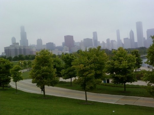 Chicago skyline on a hazy day.